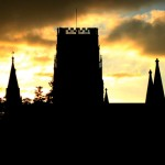 picture of Sunset over Durham Cathedral from New Elvet, September 2005