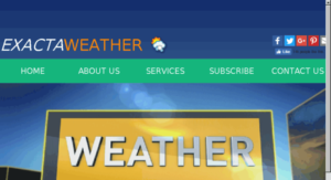 exacta weather logo and webpage