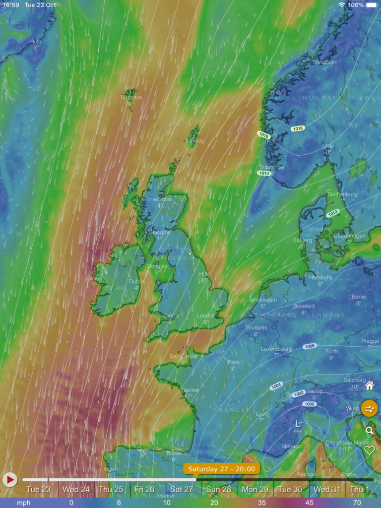 picture of weather map showing an arctic wind source for 27th october 2018