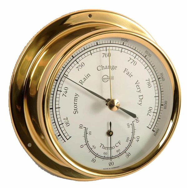 Barigo barometer and thermometer in brass case
