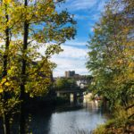 picture of durham castle from beside the river wear