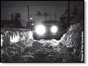 picture of a car stuck in snow at Hebden Bridge – 1963