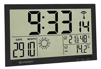 Bresser 7001800CM3000 Weather Station Wall Clock MyTime Jumbo LCD with outdoor sensor, black