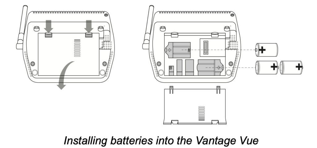davis vantage vue battery installation location