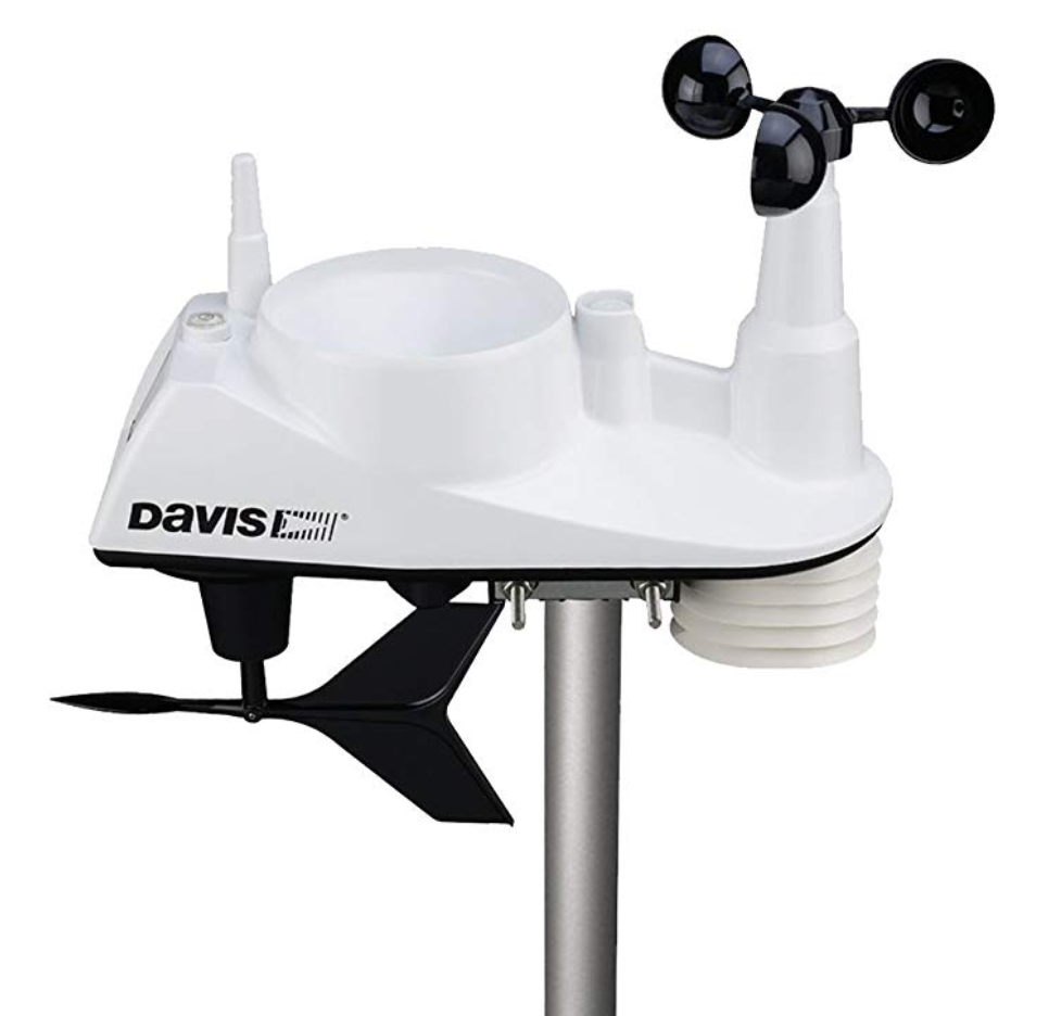 davis vantage view instrument head showing anemometer, rain gauge and thermometer screen
