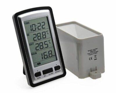 AMTAST Digital Wireless Rain Gauge with RCC, indoor/outdoor Temperature Time Calendar Display, Rain Weather Station Gauge Temperature Recorder