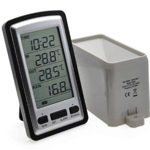 AMTAST Digital Wireless Rain Gauge with RCC, indoor/outdoor Temperature Time Calendar Display, Rain Weather Station Gauge Temperature Recorder