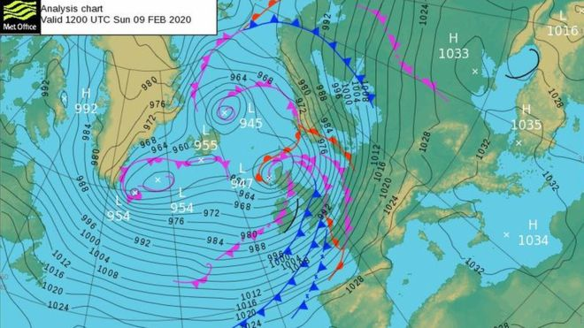 north atlantic synoptic chart from february 9th 2020