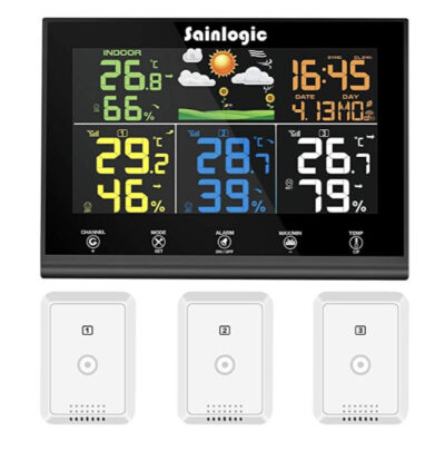 Sainlogic Wireless Weather Station with 3 Outdoor Sensors, Weather Forecast, Colour Display
