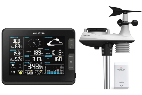 Youshiko Weather Station ( Premium Quality / HD Display / Official UK Version ) WiFi Internet Wunderground , Professional 6-in-1