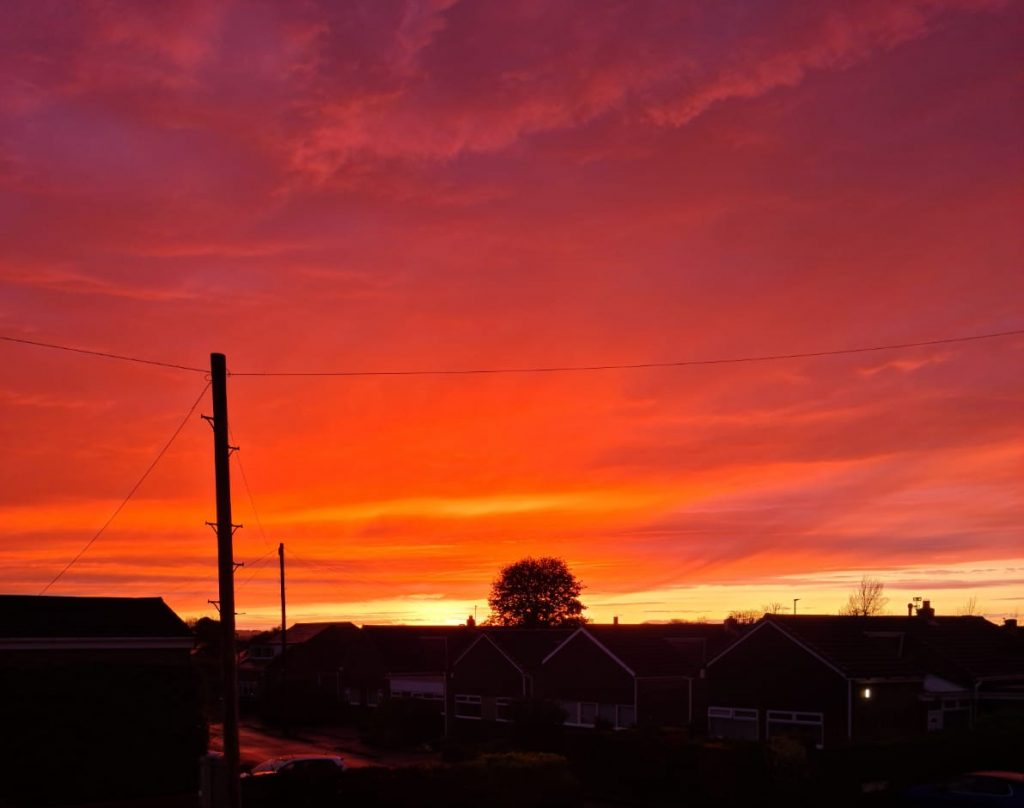Incredible Red Sunset in Durham April 26th 2020
