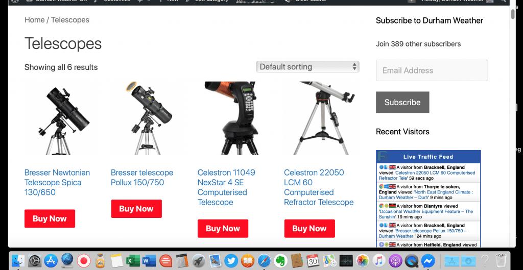 Telescopes on Durham Weather