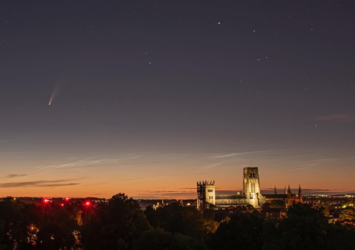 Comet Neowise over Durham Cathedral. Photograph by kind permission of Andrew Davison.