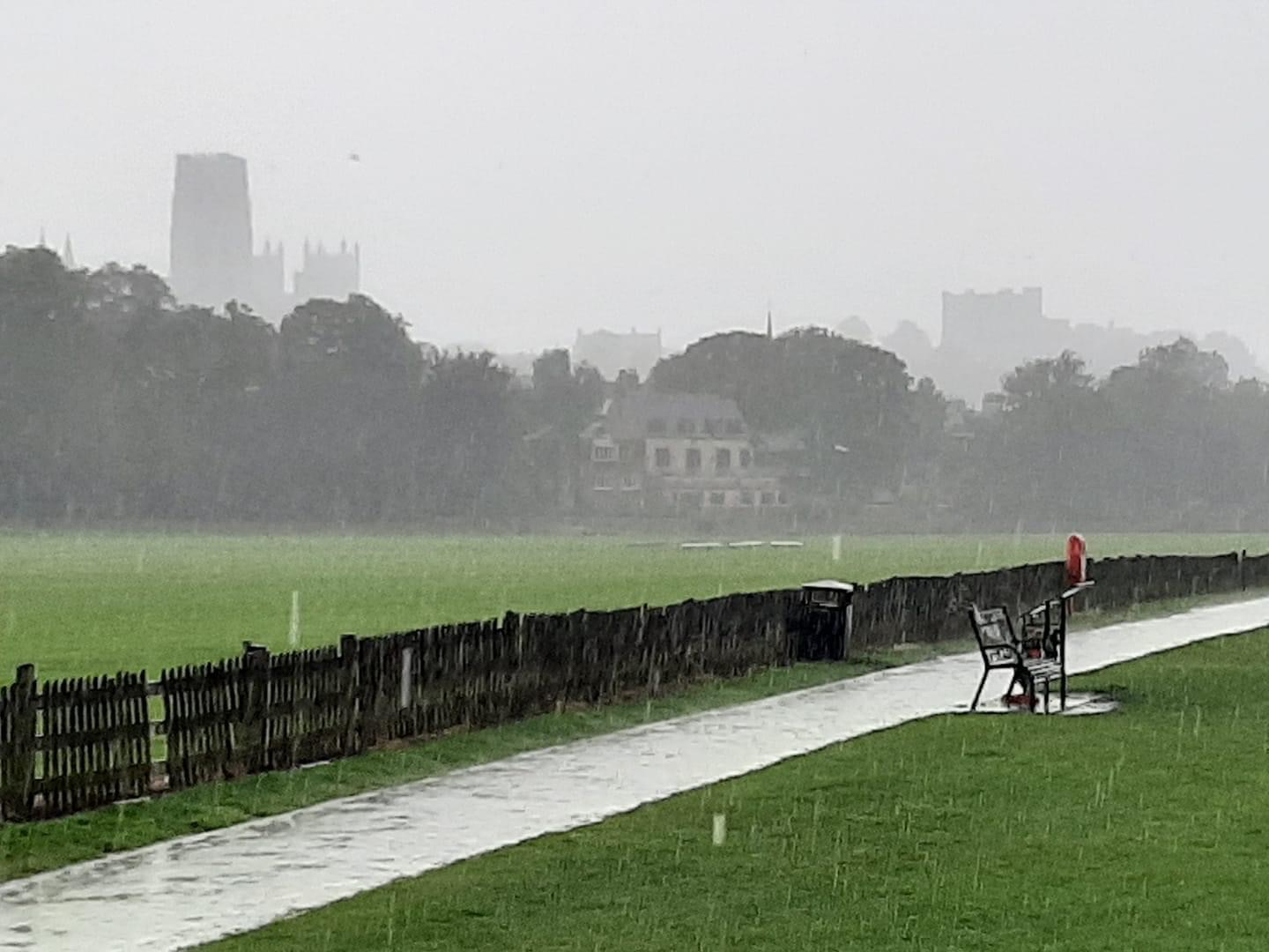 View of durham cathedral and castle in heavy rain