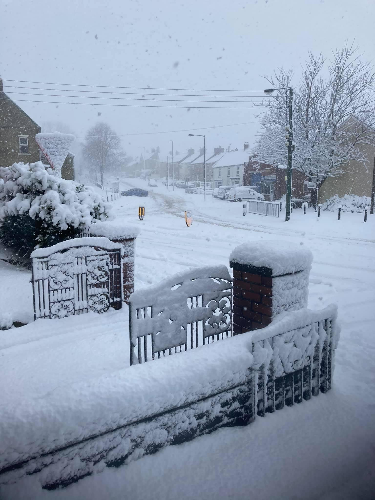 Heavy snow in Ferryhill on the morning of January 8th 2021.