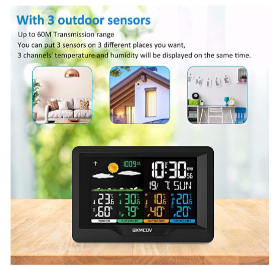 Qxmcov Weather Station with 3 Wireless Sensors