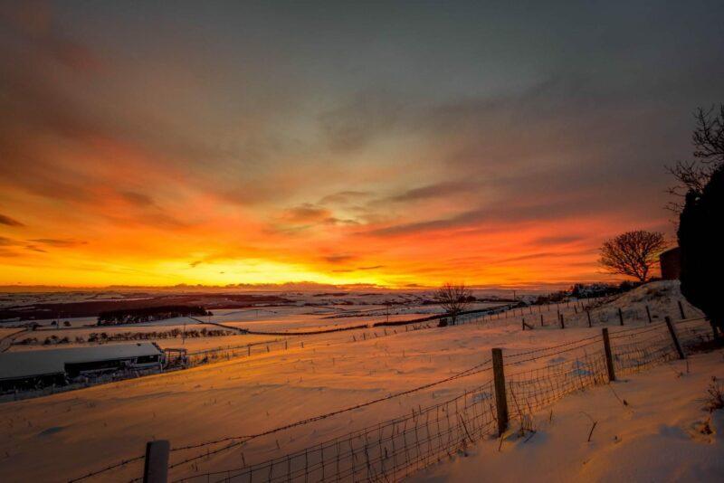 Sunset across the snowfields near Durham